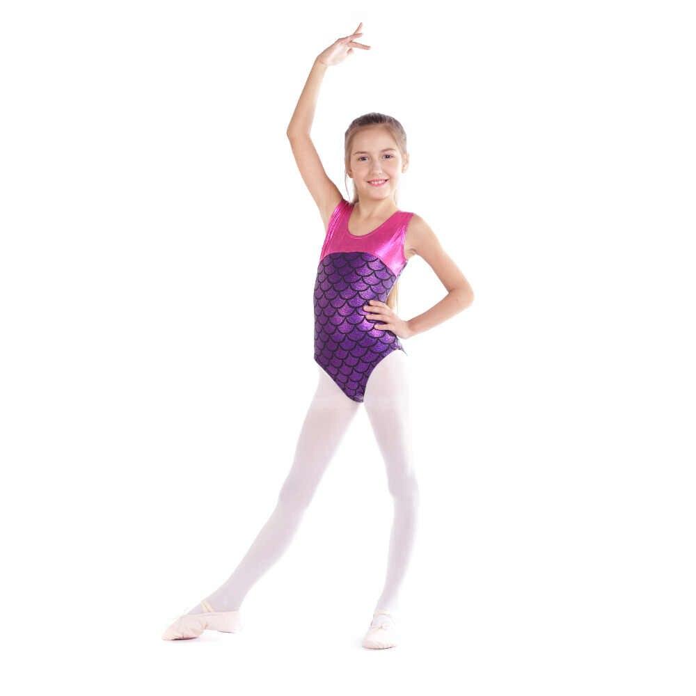 Girls Gymnastics Ballet Leotard Mermaid Dance Sport Gym Shorts Jumpsuit 3-12Y