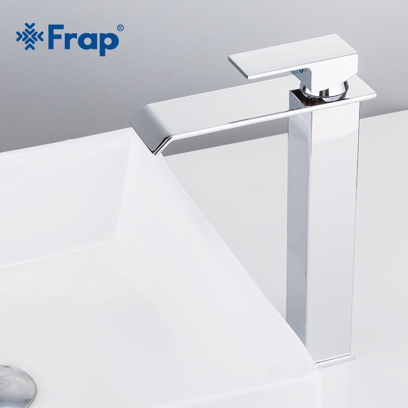Frap New Arrival Waterfall Faucet Brass Bathroom Faucet Bathroom Basin Faucet Tall Mixer Tap Hot & Cold Sink Faucet Y10145