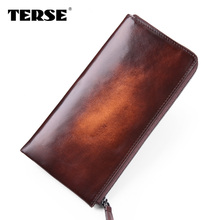 TERSE_Handmade cowhide male wallet large capacity with card holder phone pocket solid long business wallet clutch bag for men