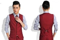 Slim Fit Burgundy Men Vests Waistcoat Available to Customize W35