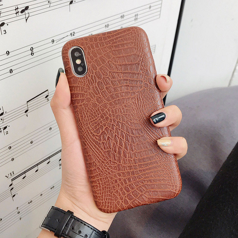 Boucho для iphone Xs MAX XR X XS чехол s крокодиловая текстура чехол для телефона для iphone 11 Pro max 7 8 6 6S Plus Роскошный чехол из искусственной кожи - Цвет: crocodile brown