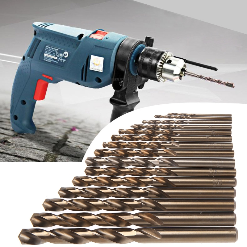 15Pcs High Speed Steel M35 HSS Cobalt Twist Drill Bit Set 1.5-10mm Power Tools 98pcs set 1 5 10mm high speed steel titanium coated cobalt hss co steel twist drill bit set power tools wood metal drilling
