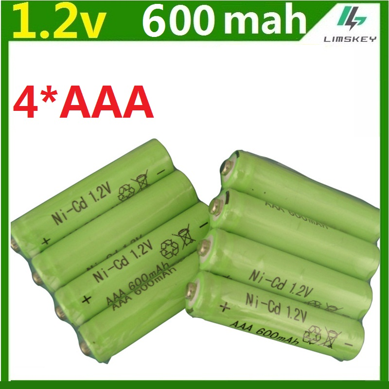 4psc lot 600mah AAA remote control toy rechargeable Ni MH rechargeable battery AAA 1 2V 600mAH