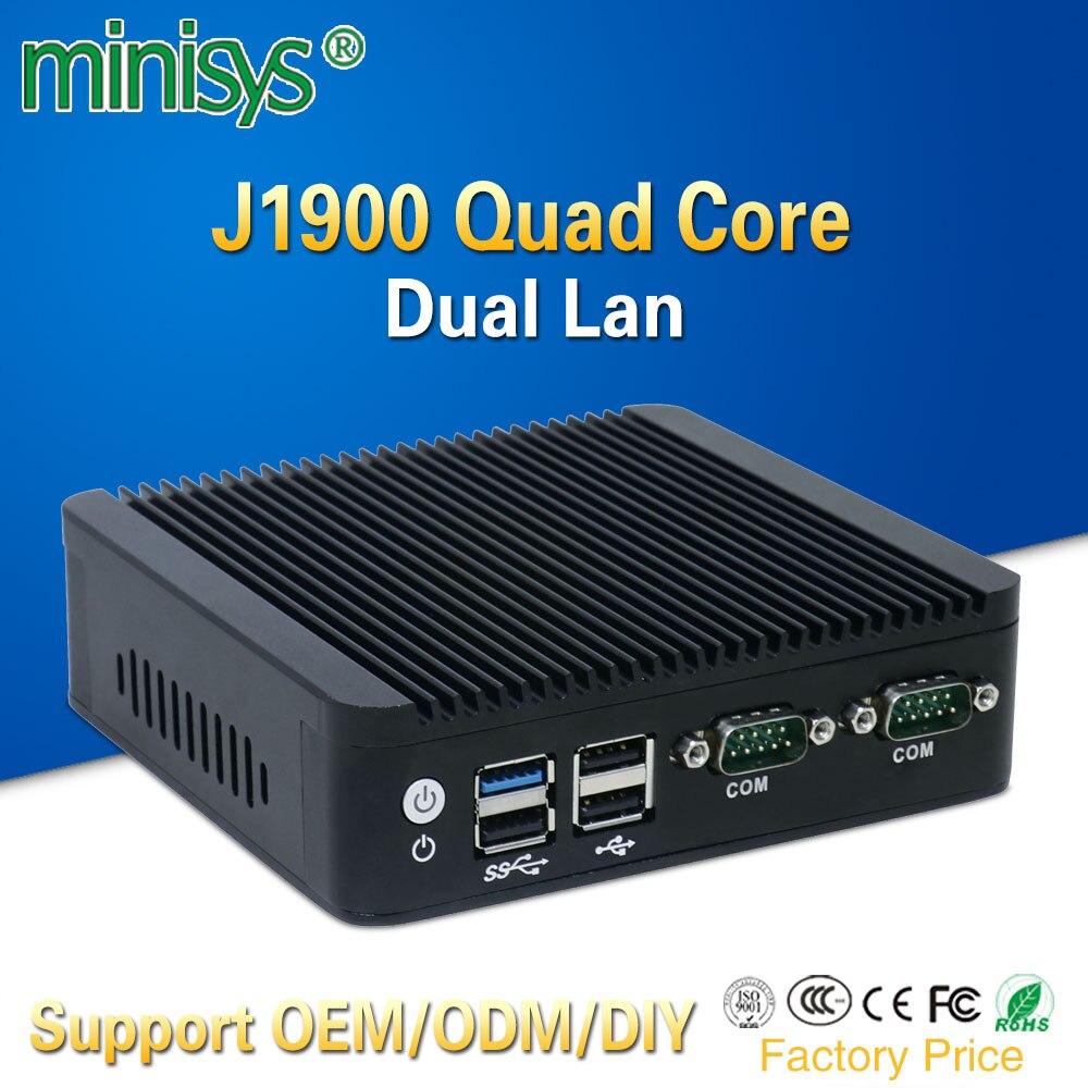 Mini pc 2 lan port Intel quad core J1900 CPU 2.0 GHz sans ventilateur ordinateur pour windows 7 8 10 OS intégré un vga et un HDMI