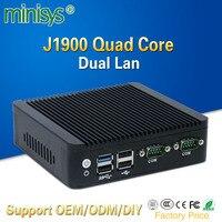 Mini pc 2 порта lan Intel quad core J1900 Процессор 2,0 ГГц компьютер без вентилятора для Windows 7 8 10 ОС embedded один vga и один HDMI