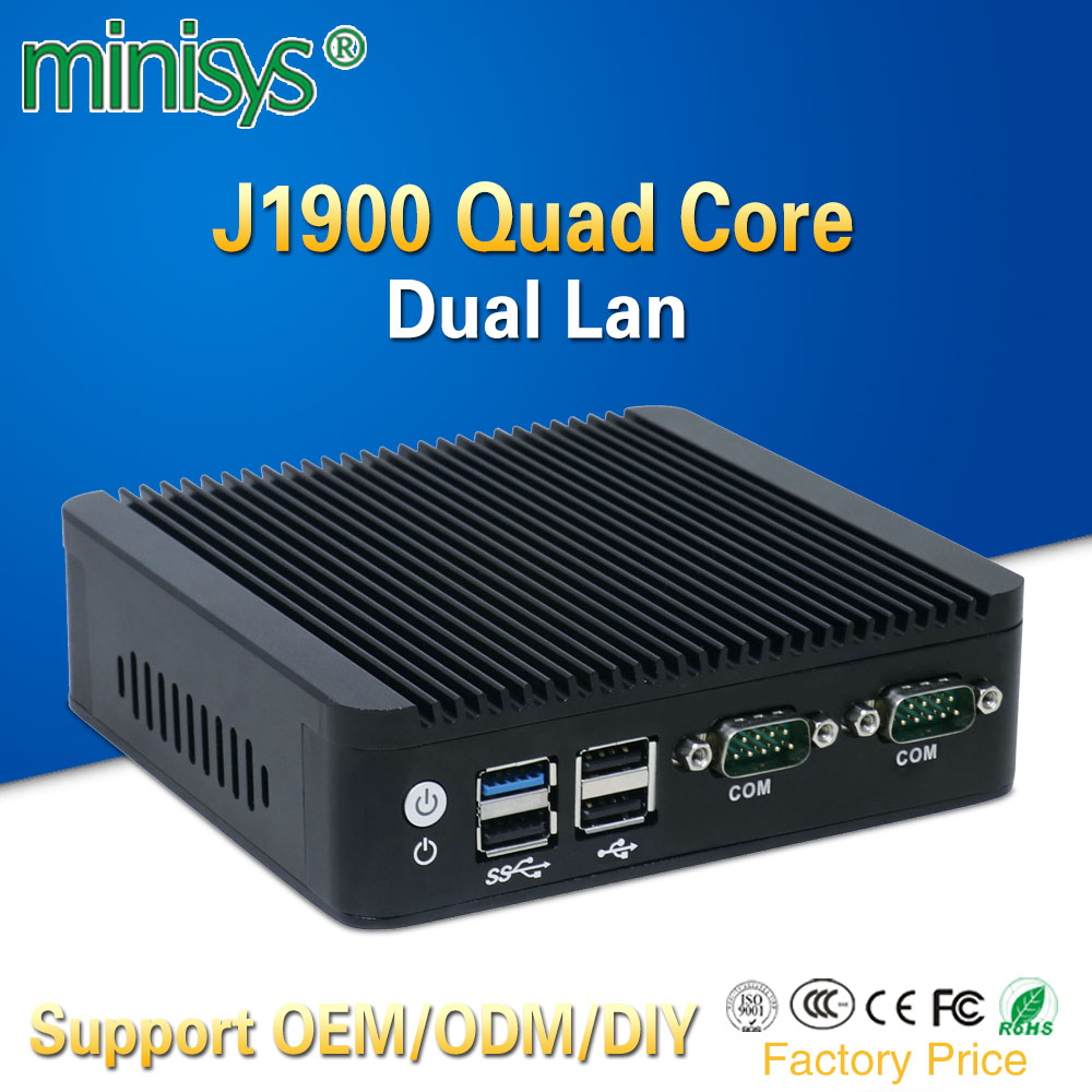 где купить mini pc 2 lan port Intel quad core J1900 CPU 2.0GHz fanless computer for windows 7 8 10 OS embedded one vga and one HDMI по лучшей цене