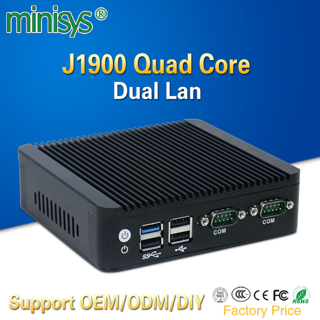 mini pc 2 lan port Intel quad core J1900 CPU 2.0GHz fanless computer for windows 7 8 10 OS embedded one vga and one HDMI