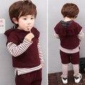 2016 мальчик одежда осень-весна Мода хлопок долго sleevesweatshirt + брюки + жилет мультфильм младенческой 3 шт. костюм дети одежда наборы