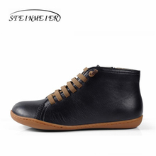 men Vintage handmade genuine leather flat casual boots man black comfortable breathable head layer cowhide boots male shoes