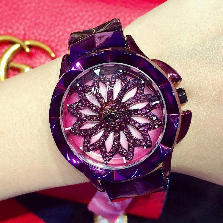 Glamorous Purple Watches Women Shining Rotation Dress Watch Flower dial Lady Diamond Wristwatch Stainless steel watch Drop ship diamond stylish watches for girls