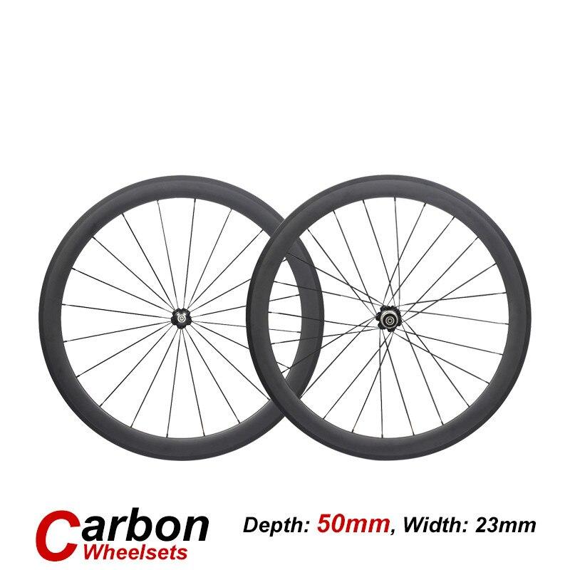 Roue en carbone 38mm 50mm 60mm 88mm roues de vélo en carbone large 23mm 700C vélo de route roues en carbone tube pneu ouvert