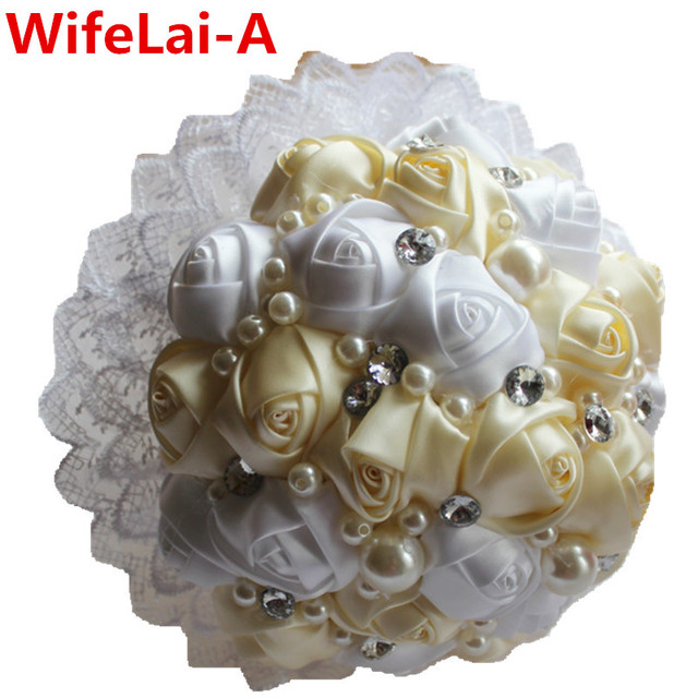 White Cream Lace Brooch Beaded Silk Bridal&Bridesmaid Wedding Bouquet Europe US Ivory Artificial Flowers Stitch Bouquets W239