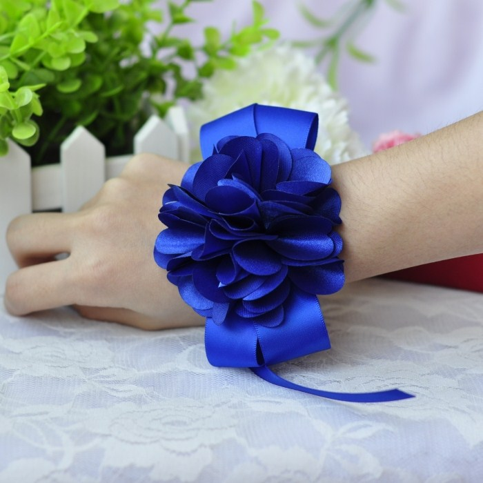 Free shipping navy blue color theme dance bride bridesmaid hand ...