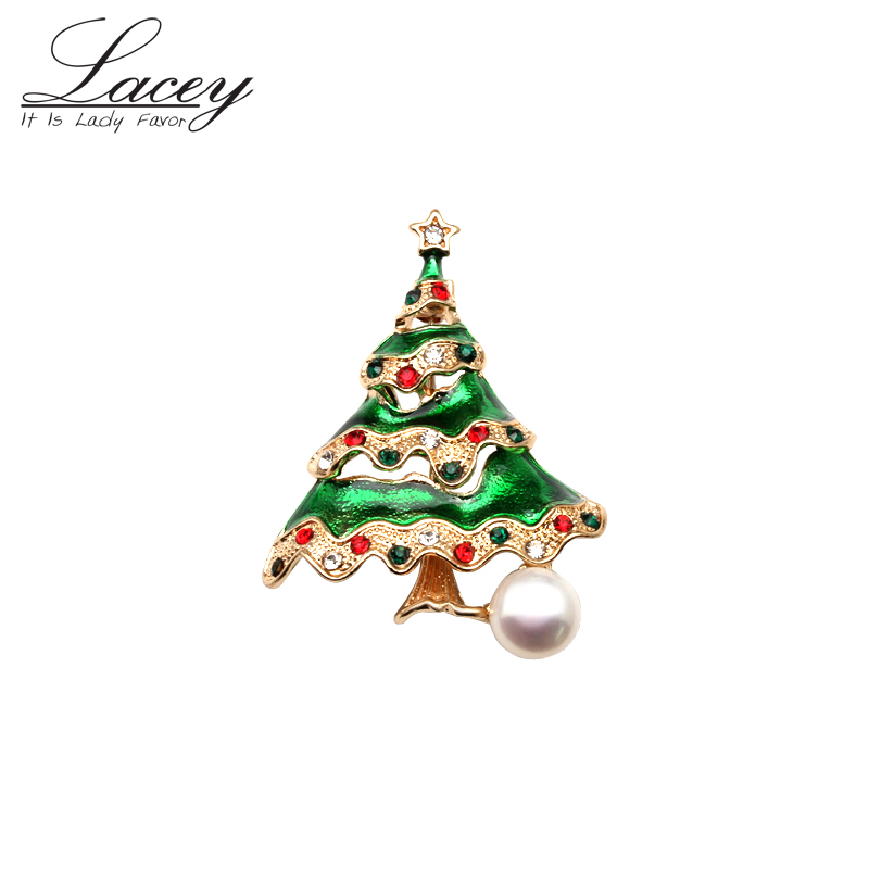 Real natural freshwater pearl brooch for women fashion pearl pins christmas tree best gifts in Hair Jewelry Brooches Body Jewelry from Jewelry Accessories