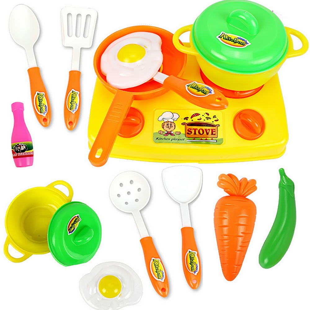 13 PCS Children Babies Kids Plastic Kitchen Pan Pot Cutting Vegetables Fruits Food Play Toys Educational Cookware Cooking Toys