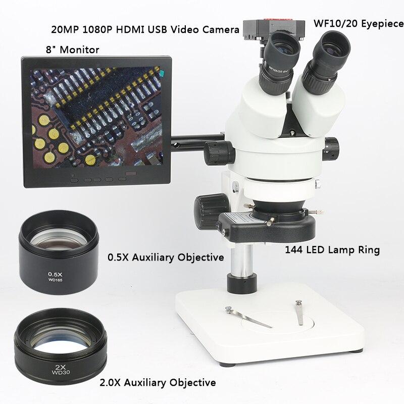 À souder PCB Réparation Tool Set 20MP 1080 p HDMI Microscope Caméra + 3.5 ~ 90X Simul-focal Trinoculaire Stéréo microscope Zoom Continu