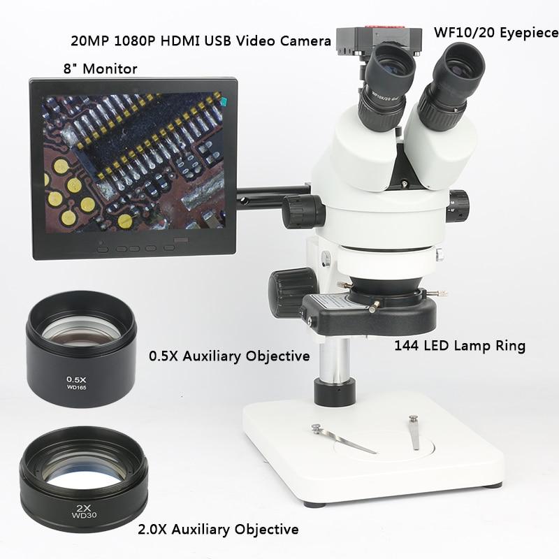 Di saldatura PCB Strumento di Riparazione Set 20MP 1080 p HDMI Microscopio Della Macchina Fotografica + 3.5 ~ 90X Simul-focale Trinoculare Stereo microscopio Zoom Continuo