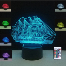 3D Illusion Sailing Sea Boat Ship RGB Night Light Cafe Home Table Desk Party Decoration Lamp USB 10 Led lights Christmas lamps недорого