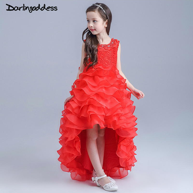 Red High Low Pageant   Dress   for   Girl   Party Ball Gowns White First Communion Princess   Dresses   Kids Elegant   Flower     Girl     Dress   2017