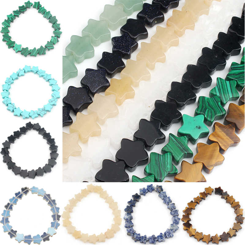 12x12mm Natural Stone Agates Malachite Tiger Eye Jades Pentagram Star Shape Loose Beads For Jewelry Making DIY Handmade Bracelet