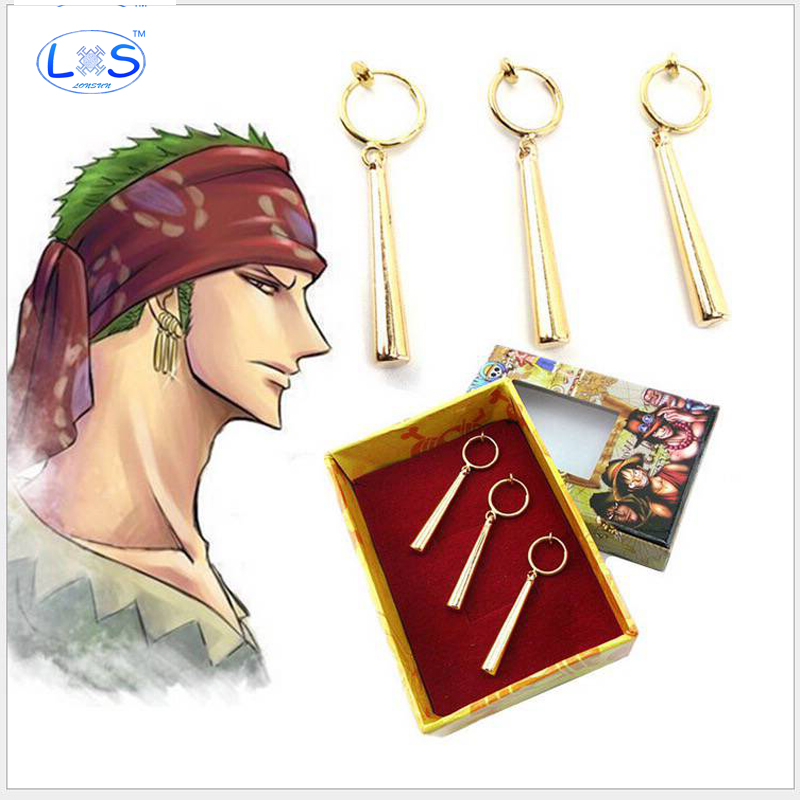 (LONSUN)3pcs/set Action Figure random One Piece Roronoa Zoro Cpsplay Earring PVC gift Decoration Collectible Model Anime Toy