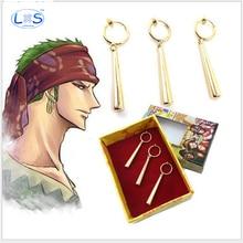 3pcs/set One Piece Roronoa Zoro Earring PVC Toy