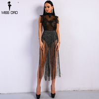 Missord 2018 Sexy Spring and Summer Tassel Playsuit Lace See Through Glitter Tassel Bodysuit FT8901 1