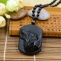 Envío de La Gota Libre La Cabeza del Lobo Joyería Ajustable Longitud Precioso Negro Obsidiana Piedra Tallada Tótem Del Lobo Collar De Lobos Amante
