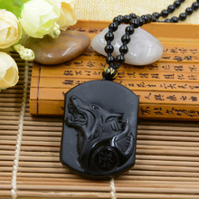 Free Drop Shipping Wolf Head Jewelry Adjustable Length Precious Black Obsidian Stone Carved Wolf Totem Necklace For Wolves Lover