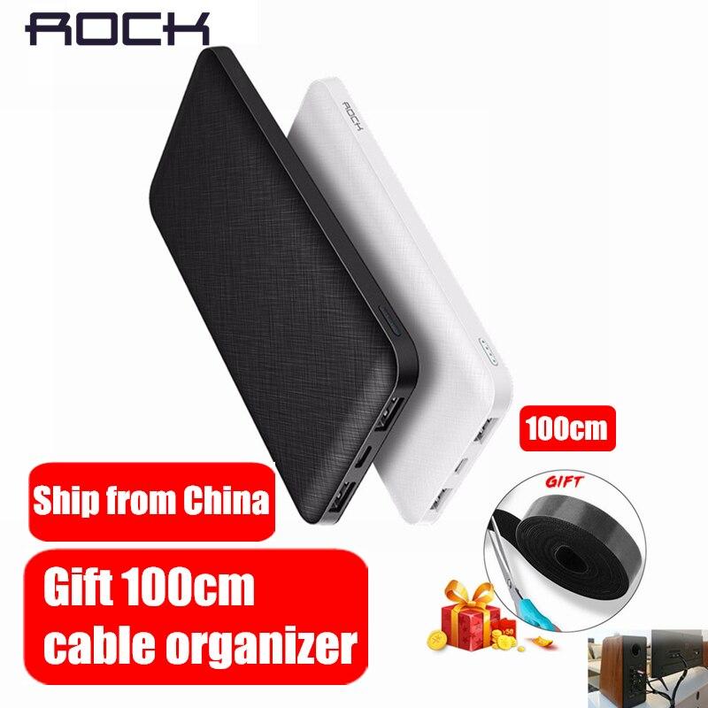 ROCHA Magro 10000 mah Banco de Potência, polímero Ultra-fino portátil Powerbank bateria power-banco 10000 mah Com Luz LED para o Telefone Móvel