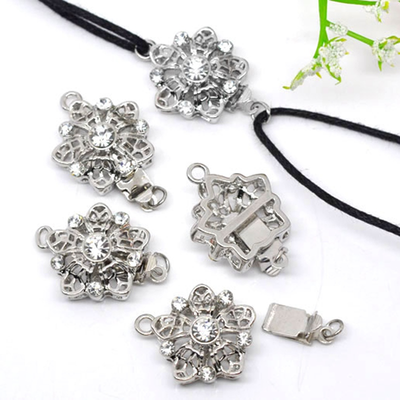 LASPERAL 5/10/40/50PCs Silver Color Clasps&Hook Flower Heart Multi Pattern Hollow Out Clasps Jewelry Findings For Jewelry Making marulong s0002 women s fashionable flower pattern short sleeved nightdress green multi color