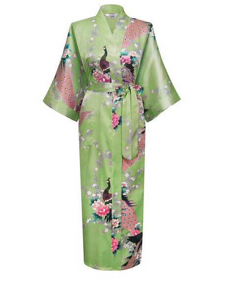 Green Fashion Womens Peacock Long Kimono Bath Robe Nightgown Gown Yukata Bathrobe Sleepwear With Belt S M L XL XXL XXXL