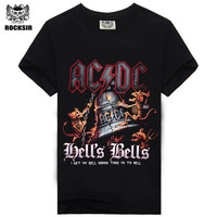 2014 Fashion ACDC Rock Band Tee Cool Black T Shirt Personality T Shirt For Mems