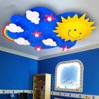 Детская Спальня Мультфильм светодиодный потолок освещение украшения солнца Радуга форме Eye Care современные дети освещения