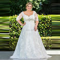 Custom Made Plus Size Wedding Dress Lace Half Sleeves A Line White Bridal Gown Rhinestones Bride Dresses Hochzeitskleid