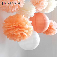 JOY-ENLIFE Wedding Decoration 5pcs Pom Poms 20cm Tissue Paper Artificial Flowers Ball Baby Shower Party Craft Birthday Supplies