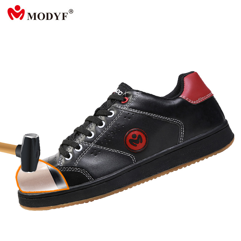 Modyf Men steel toe shoes anti-smashing hiking shoes skate style design lightweight rubber outsole skidproof protection footwear vik max adult kids dark blue leather figure skate shoes with aluminium alloy frame and stainless steel ice blade