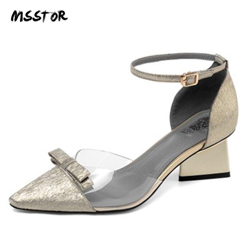 MSSTOR รองเท้าแตะสตรีฤดูร้อนสายคล้องคอ Transparent Sliver แฟชั่น Elegant Party รองเท้าแตะผู้หญิง 2019 ผสมสีฤดูร้อนรองเท้าแตะ-ใน รองเท้าส้นสูงปานกลาง จาก รองเท้า บน   1