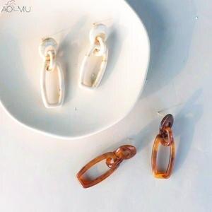 c332a92be AOMU Vintage Acrylic Chain Long Drop Earrings for Women