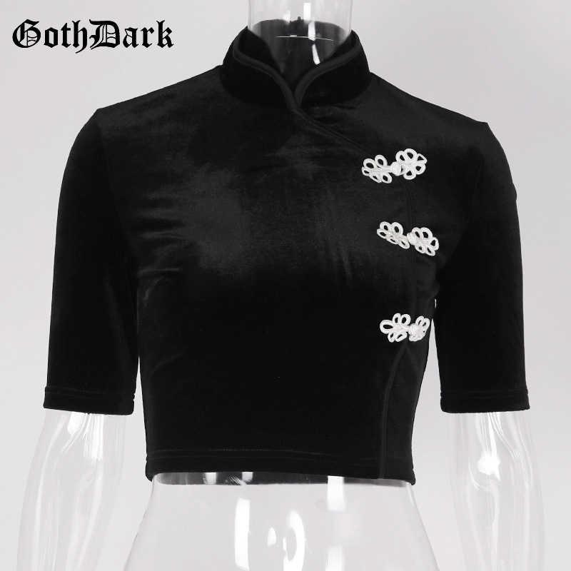 Goth Donkere Effen Esthetische Applique T-shirts Voor Vrouwen Cropped Vrouwelijke Stand Elegant T-shirt Gothic Mode Punk Grunge T-shirt