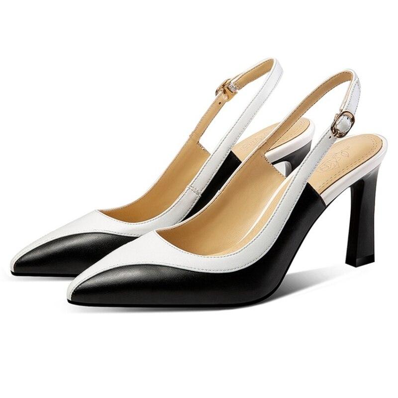 Elegante Colores Correa Nude Tacones De Sexy Zapatos Mujeres Mezclados negro Beige Bombas Punta Primavera Msstor Slip hebilla Otoño nFUdqYwUS