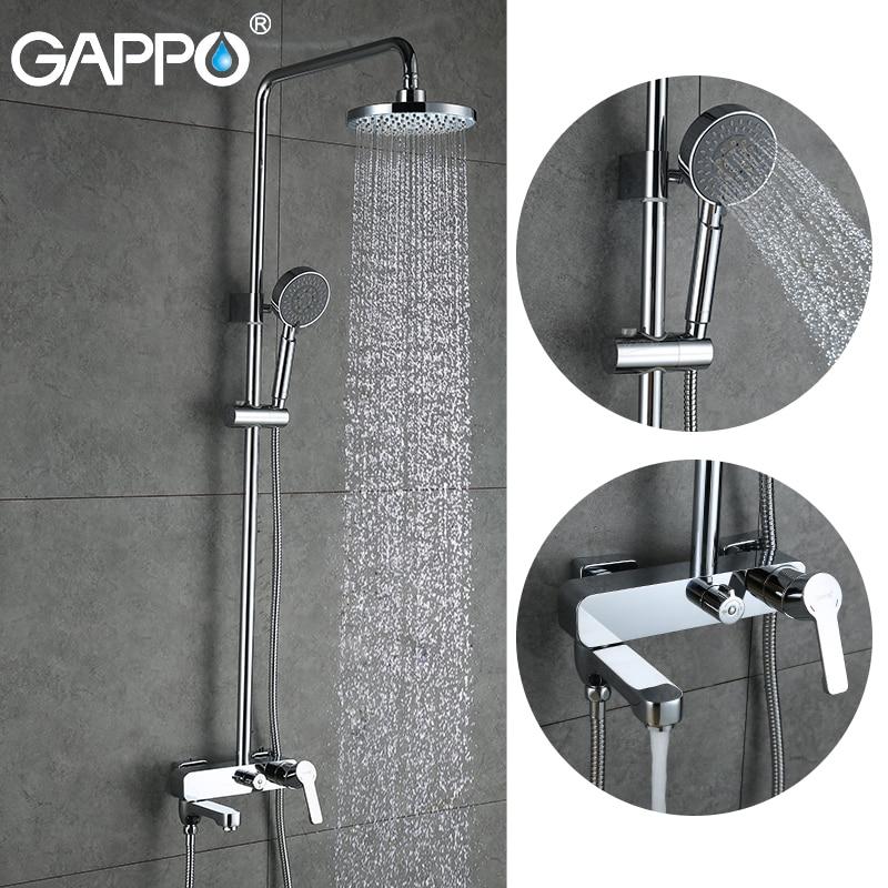 GAPPO waterfall shower bath faucets set bathtub mixer faucet bath rain shower tap bathroom shower head stainless shower barShower Faucets   -