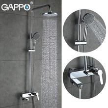 GAPPO waterfall shower bath faucets set bathtub mixer faucet bath rain shower tap bathroom shower head stainless shower bar