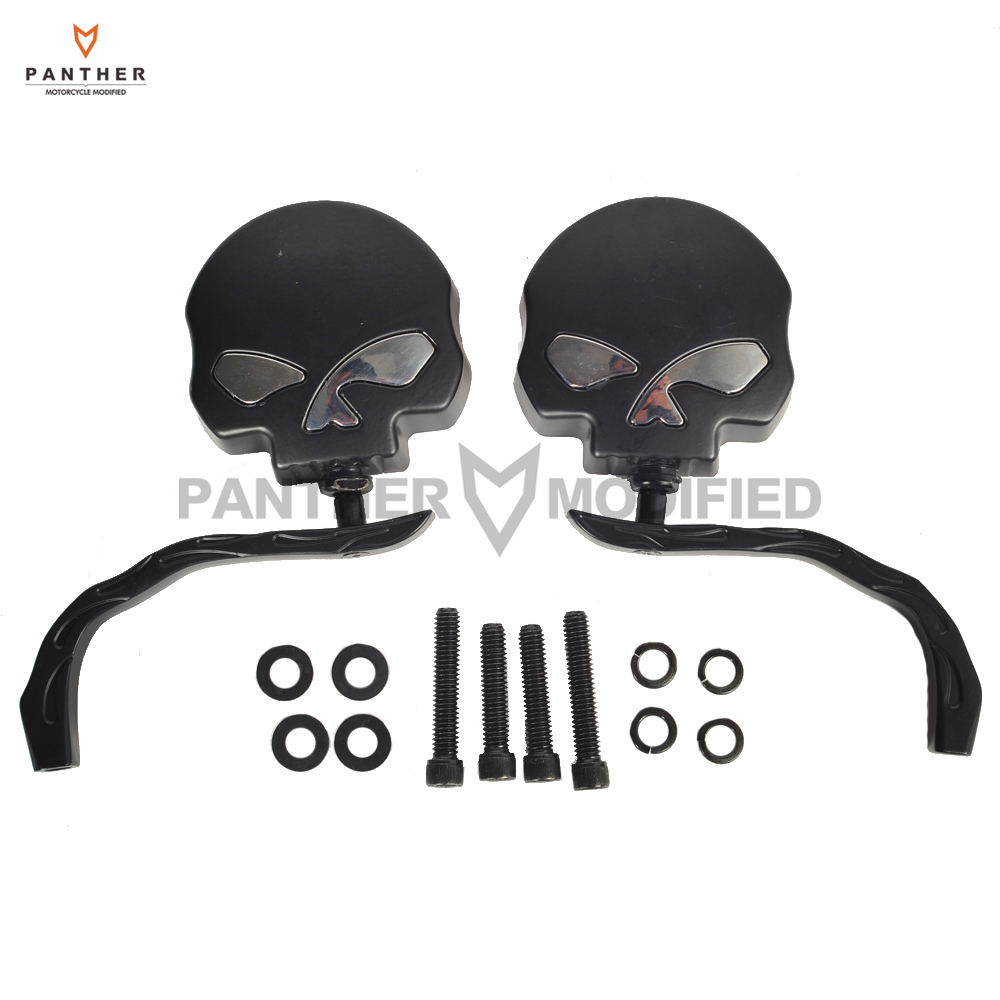 8mm 10mm Skull Flame Motorcycle Mirror Moto Rear Side Mirrors Bobber Chopper case for Harley Dyna Softail Sportster Yamaha