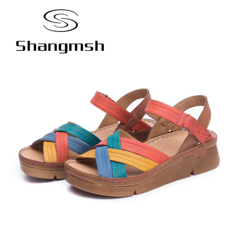 Shangmsh 2018 summer gladiator heels sandals comfortable genuine leather candy color Pump women shoes Casual platform