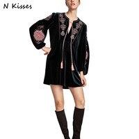 Nkisses 2017 Autumn ZA Women Fashion Velvet Dress Long Sleeve Embroidery Flower V Neck Black Vestidos