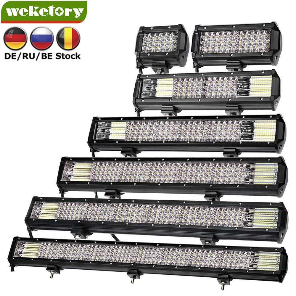 Weketory Quad filas 4-44 pulgadas LED barra de luz LED para coche Tractor Boat OffRoad carretera 4WD 4x4 camión SUV ATV conduciendo 12 V 24 V