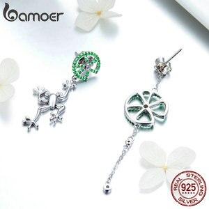 Image 4 - Bamoer authentic 925 prata esterlina jumping sapo verde zircão brincos de gota para mulheres longa corrente animal jóias bse027