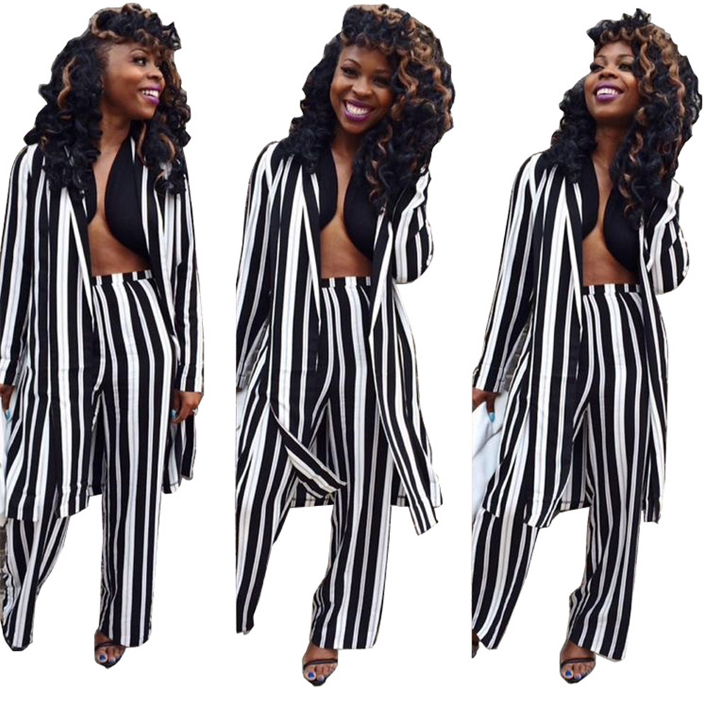 Women Autumn spring set fashion casual suit print striped wide leg pants / long coat jacket tops hip hop style suit costumes