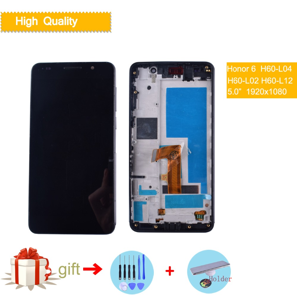 Original For 5.0 inch Huawei honor 6 LCD Display Touch Screen Digitizer Assembly with Frame Black White Screen Replacement